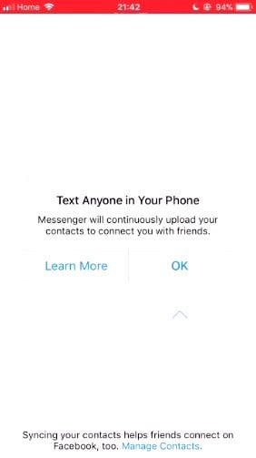 """*In order to **not** send your contacts to Facebook, you need to tap """"Learn More.""""*"""